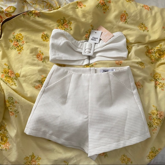 Tiger mist neema top bandeau and shorts set white